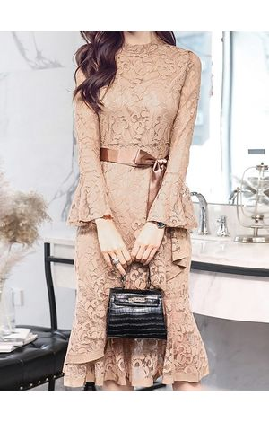 Suave Lace Overall Dress With Fluted Sleeve