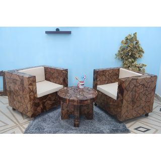 Onlineshoppee Bloque De Madera Wooden Round Foldable Coffee Table