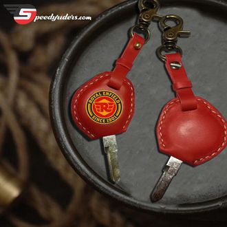 Speedy Riders R/H Cut Blank Key with Leather Cover Red Color Keychain For Royal Enfield