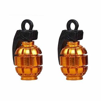 Speedy Riders Grenade Style Bike Tyre Valve Caps Set Of 2 - Golden Color