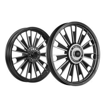 Kingway JS1M Zipp Bike Alloy Wheel Set of 2 19/19 Inch Black-Royal Enfield Standard 350 Twin Spark