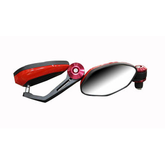 Speedy Rider Handle Bar End Mirror Rear View Mirror Oval Red & Black Color for Royal Enfield