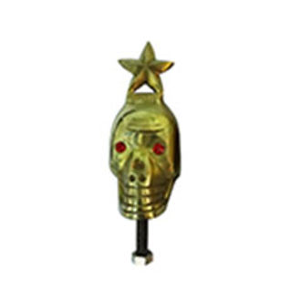 Speedy riders Brass Front Mudguard Skull Face with Red Eyes and Star on Head for Royal Enfield