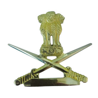 Speedy riders Brass Front Mudguard Military Badge Decal Emblem Sword with Ashoka Stambh for Royal Enfield