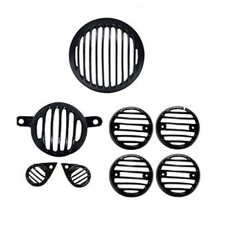 Speedy Riders Combo Offer Black Headlight Grill Complete Set of 8 For Royal Enfield