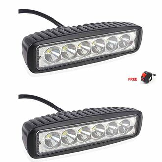 Speedy riders Pair 6 LED Auxillary Cree 18 Watts Fog Light / Work Light Bar Spot Beam Off Road Driving Lamp With ON/OFF Switch Free for All Bikes