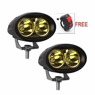 Speedy riders Pair Yellow Auxillary Cree 20 Watts Fog Light / Work Light Bar Spot Beam Off Road Driving Lamp With ON/OFF Switch Free for All Bikes