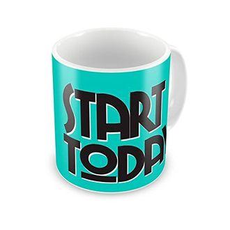 Speedy Riders Printed Customized Ceramic Tea And Coffee Mug 350 ML Blue & White Dual Tone Color