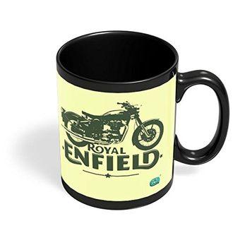 Speedy Riders Printed Customized Ceramic Tea And Coffee Mug 350 ML Cream & Black Dual Tone Color