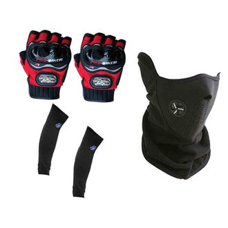 Speedy Riders Combo Offers Pro-Biker Half Cut Gloves (Red) + Neoprene Half Face Mask+ Arm Sleeves-Black (Free Size)