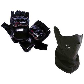Speedy Riders Combo Offers Pro-Biker Riding Half Cut Gloves (Black) + Neoprene Half Face Mask (Free Size)