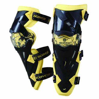 Speedy Riders SCOYCO K12 Motorcycle Off-Road Racing Outdoor Sports Knee Protector Guard - Yellow + Black (Pair) Yellow +  Black