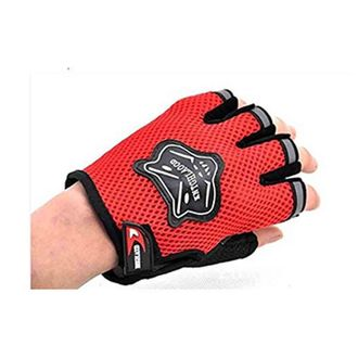 Speedy Riders Knighthood 1 Pair of HALF Hand Grip Gloves for Bike Motorcycle Scooter Riding - Red Colour