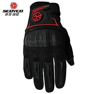 Speedy Riders Scoyco MC23 Full Finger Armoured Motorcycle Riding Gloves Black and Red Color