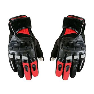 Speedy Riders Scoyco MC17B Full Finger Armoured Motorcycle Riding Gloves Black and Red Color