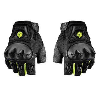 Speedy Riders Scoyco MC29D Bike Riding Half Finger Gloves Set of 2 Black and Neon Color
