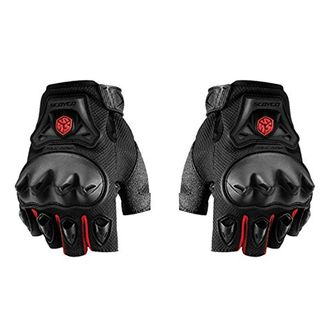 Speedy Riders Scoyco MC29D Bike Riding Half Finger Gloves Set of 2 Black and Red Color