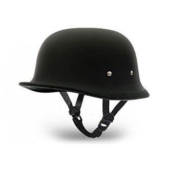 Speedy Riders German Style Motorbike Open Face Helmet Matte Black Color