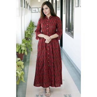 Maroon Front Button Maxi