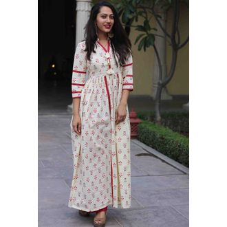 Beige Red Slit Kurta