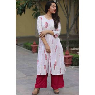Red Jaal Pintuck Kurta