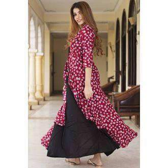 Black Maroon Floral Dress