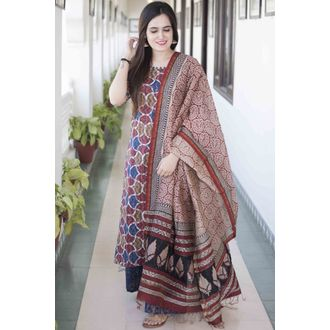 Abstract Print Kurta Set
