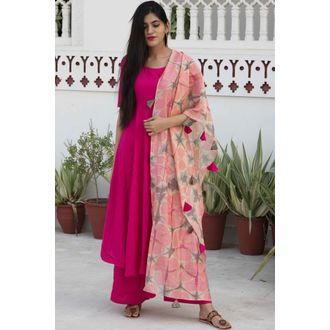 Chanderi Dupatta Suit Set