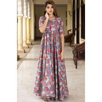 Leaf Print Maxi Dress