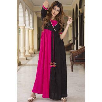 Pink Black Maxi Dress