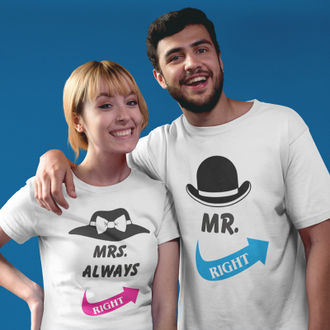 be0e3ff86 Mr. & Mrs. Always Right Round Neck Half Sleeves Couple T shirt (White