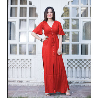 Red Bell Sleeve Front Open Maxi