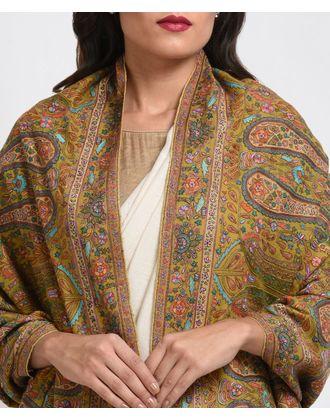Mustard Jamawar Sozni and Papier Mache Hand Embroidered Pure Pashmina Shawl