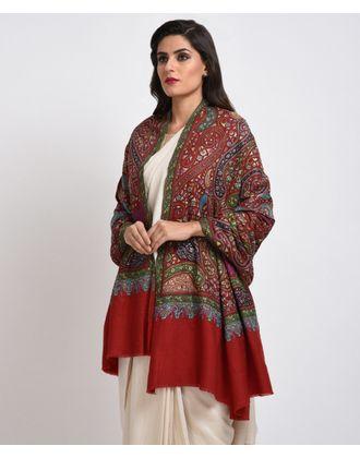 Red Papier Mache  Hand Embroidered Jamawar Pure Pashmina Shawl