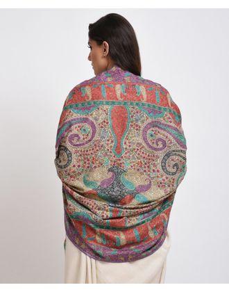 Light Fawn Papier Mache Hand Embroidered Jamawar Pure Pashmina