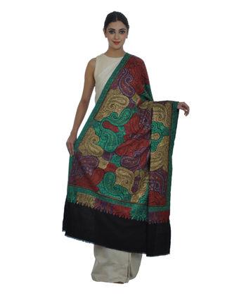 Masterpiece Black Papier Mache Hand Embroidered Jamawar Pure Pashmina Shawl