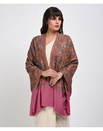 Masterpiece Pink Sozni Hand Embroidered Jamawar Pure Pashmina Shawl
