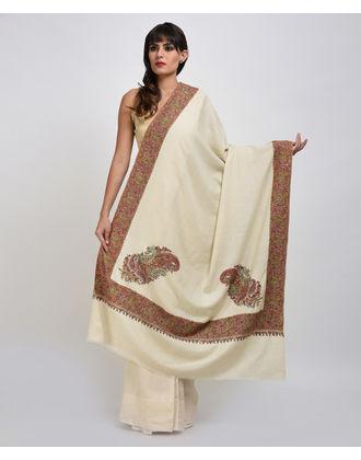 Ivory Pure Pashmina Sozni and Papier Mache Hand Embroidered Shawl