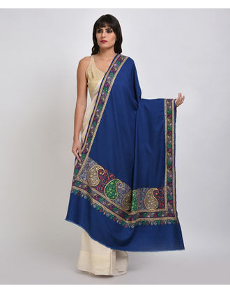 Royal Blue Pure Pashmina Papier Mache & Tilla Hand Embroidered Shawl
