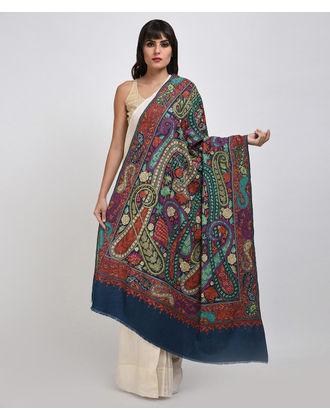 Prussian Blue Papier Mache Hand Embroidered Jamawar Pure Pashmina Shawl