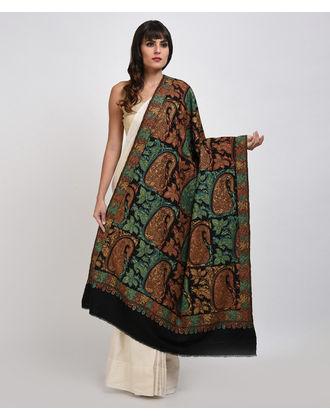 Black Sozni and Papier Mache Hand Embroidered Pure Pashmina Shawl