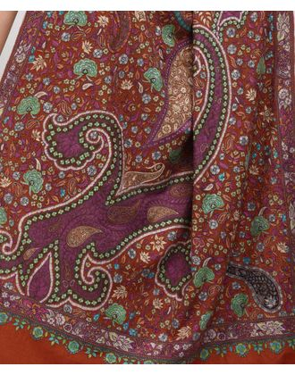 Burnt Orange Papier Mache Hand Embroidered Jamawar Pure Pashmina Shawl