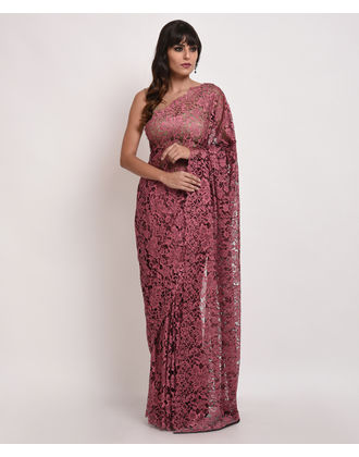 French chantilly lace sarees wine black french chantilly lace saree with crepe tissue blouse aloadofball Choice Image