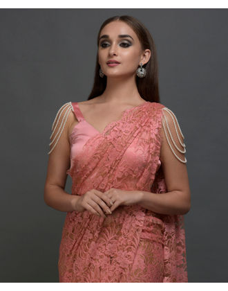 French chantilly lace sarees peach brown french chantilly lace saree with pearl shoulder necklace blouse aloadofball Gallery