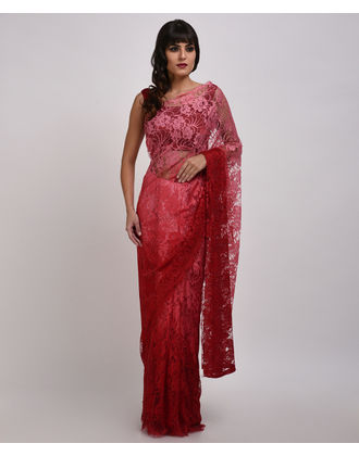 French chantilly lace sarees maroon pink ombre french chantilly lace saree with blouse aloadofball Choice Image