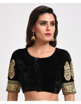 70559d74515 Silk velvet gold tilla embroidered crop top jpg 330x420 Velvet crop top gold