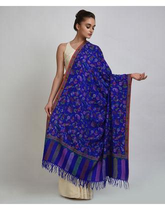Royal Blue Pure Kashmir Pashmina Kani Jamawar Weave Shawl