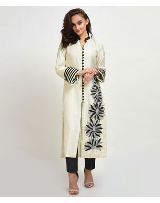 Ivory Floral Kantha and Beads Hand Embroidered Suit