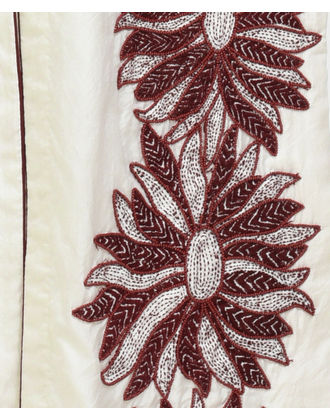 Ivory Floral Kantha and Beads Hand Embroidered Kurta