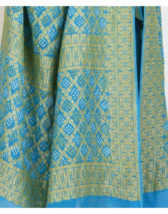 Turquoise Banarasi Kadhwa Zari Bandhej Pure Georgette Dupatta